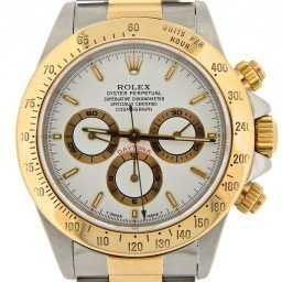 Mens Rolex Two-Tone 18K/SS Daytona White  16523 (SKU W340083BCMT)
