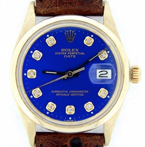 Rolex 14K Yellow Gold Date 1500 Blue Diamond-1