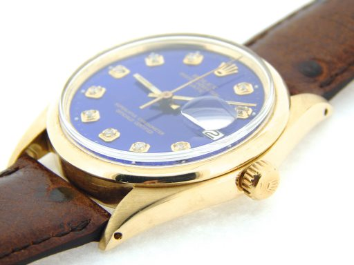 Rolex 14K Yellow Gold Date 1500 Blue Diamond-6