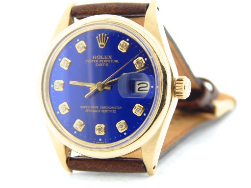Rolex 14K Yellow Gold Date 1500 Blue Diamond-7