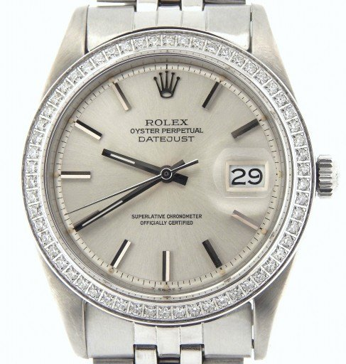 Rolex Stainless Steel Datejust 1603 Silver  Diamond-1