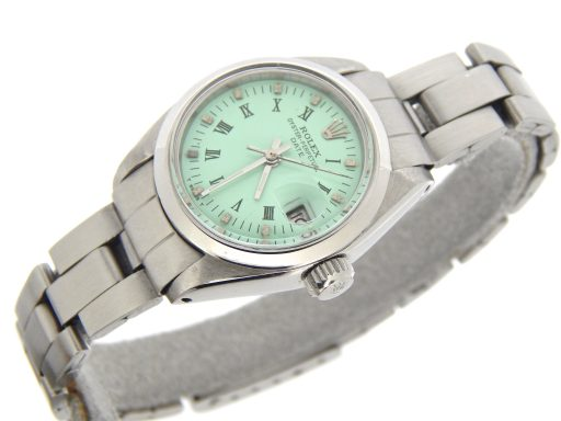Rolex Stainless Steel Date 6916 Green Roman-4