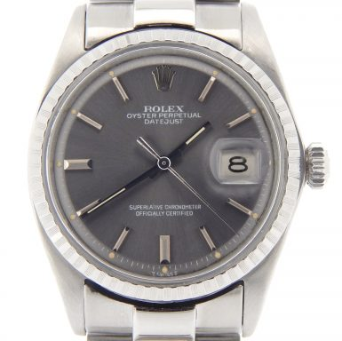 Rolex Stainless Steel Datejust 1603 Gray Slate -1