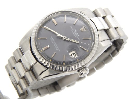 Rolex Stainless Steel Datejust 1603 Gray Slate -6