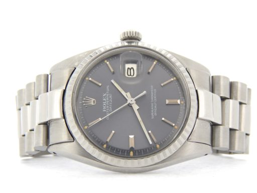 Rolex Stainless Steel Datejust 1603 Gray Slate -7