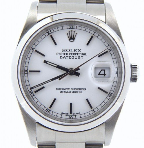 Rolex Stainless Steel Datejust 16200 White -1