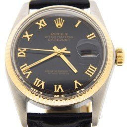 Mens Rolex Two-Tone 18K/SS Datejust Black Roman 16013 (SKU 8080566MT)