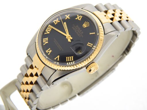 Rolex Two-Tone Datejust 16013 Black Roman-7