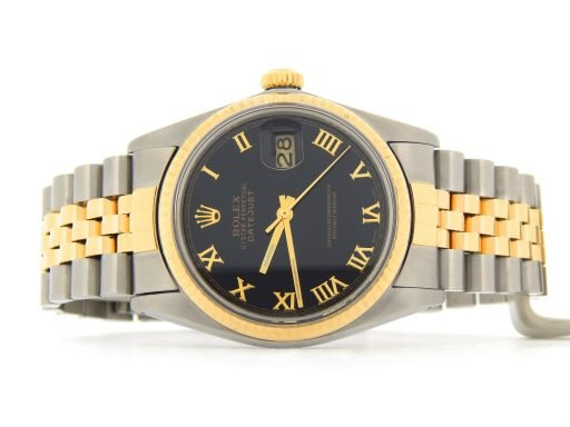 Rolex Two-Tone Datejust 16013 Black Roman-6