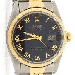 Mens Rolex Two-Tone 18K/SS Datejust Black Roman 16013 (SKU 8080566JUBMT)