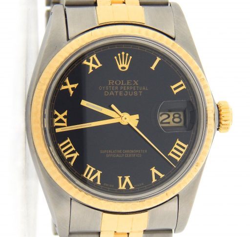 Rolex Two-Tone Datejust 16013 Black Roman-1