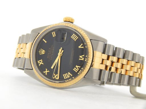 Rolex Two-Tone Datejust 16013 Black Roman-5