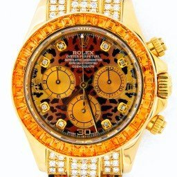 Mens Rolex 18K Yellow Gold Daytona Leopard Diamond 116518 (SKU Y889557BCMT)