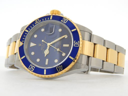 Rolex Two-Tone Submariner 16613T Blue -9