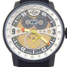 Mens Gevril Powerball GV2 Black Rubber Big Date Stainless Steel Watch (SKU GEVPOWN)