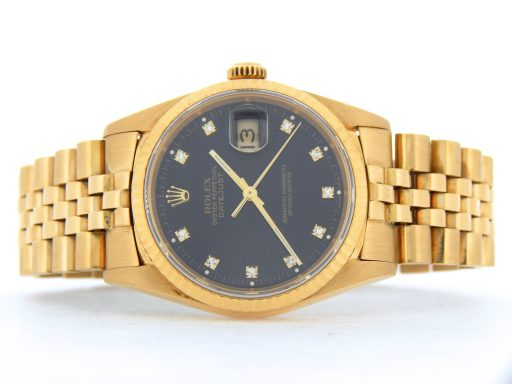 Rolex 18K Yellow Gold Datejust 16238 Black Diamond-5