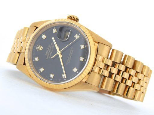 Rolex 18K Yellow Gold Datejust 16238 Black Diamond-6