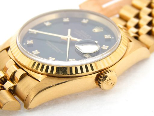 Rolex 18K Yellow Gold Datejust 16238 Black Diamond-4