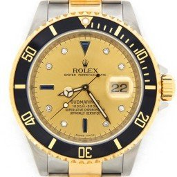 Mens Rolex Two-Tone 18K/SS Submariner Champagne Diamond Black 16613T