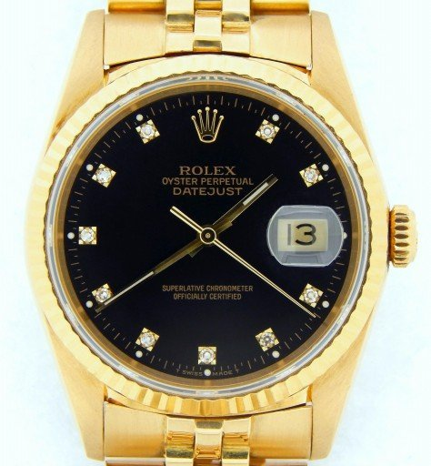 Rolex 18K Yellow Gold Datejust 16238 Black Diamond-1