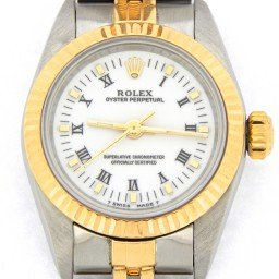 Ladies Rolex Two-Tone 18K/SS Oyster Perpetual White Roman 67193