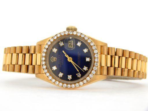 Rolex Yellow Gold Datejust President Diamond 69178 Blue-10