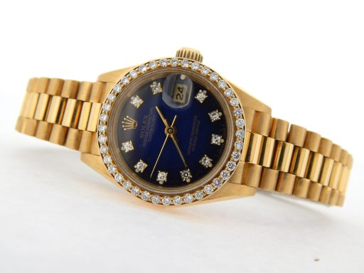 Rolex Yellow Gold Datejust President Diamond 69178 Blue-9