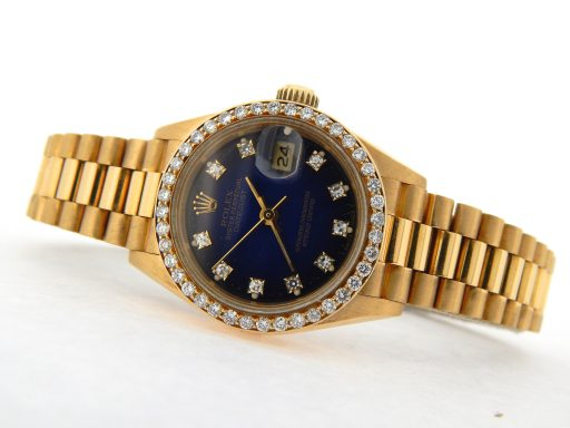 Rolex Yellow Gold Datejust President Diamond 69178 Blue-8