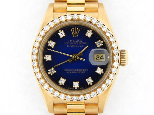 Rolex Yellow Gold Datejust President Diamond 69178 Blue-1