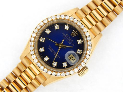 Rolex Yellow Gold Datejust President Diamond 69178 Blue-7