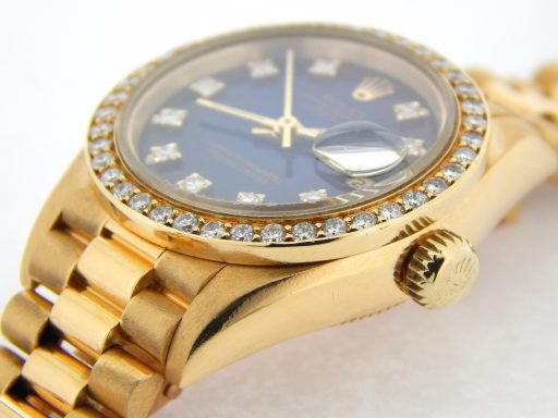 Rolex Yellow Gold Datejust President Diamond 69178 Blue-6