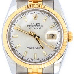 Mens Rolex Two-Tone 18K/SS Datejust Silver  116233 (SKU F493178SNBCMT)