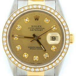 Mens Rolex Two-Tone 18K/SS Datejust Champagne Diamond 16233 (SKU S786192BCMT)