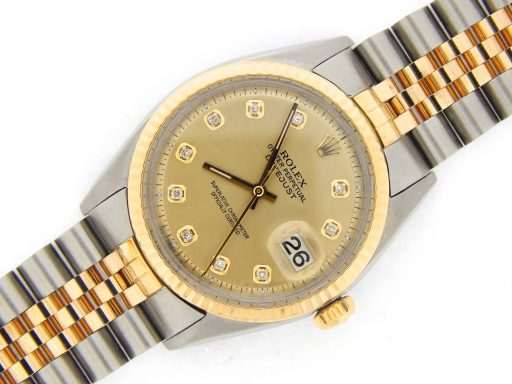 Rolex Two-Tone Datejust 1601 Champagne Diamond-5