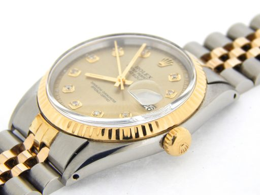 Rolex Two-Tone Datejust 1601 Champagne Diamond-4