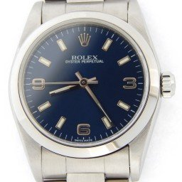 Mid Size Rolex Stainless Steel Oyster Perpetual Blue Arabic 77080 (SKU P250501MT)