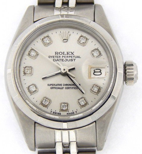 Rolex Stainless Steel Datejust 6916 Silver Diamond-8