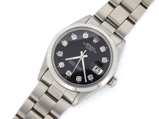 Rolex Stainless Steel Date 1500 Black Diamond-6