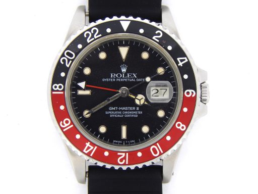 Rolex Stainless Steel GMT Master II 16760 Black & Red Coke -1