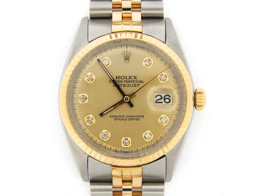 Rolex Two-Tone Datejust 1601 Champagne Diamond-7