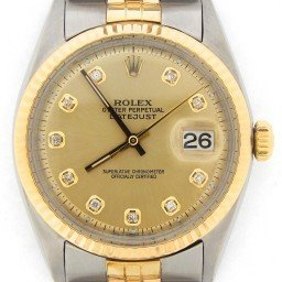 Mens Rolex Two-Tone 14K/SS Datejust Champagne Diamond 1601