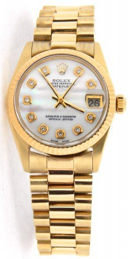 Rolex Yellow Gold Datejust President Diamond 6827 White MOP-7