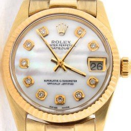 Pre Owned Mid-Size Rolex Yellow Gold Datejust President MOP Diamond 6827 (SKU 682714KGWNM)