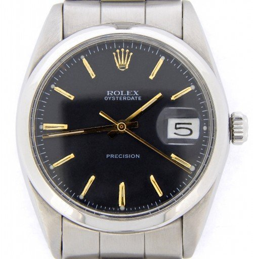 Rolex Stainless Steel Oysterdate 6694 Black -1