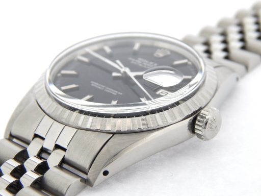 Rolex Stainless Steel Datejust 1603 Black -6