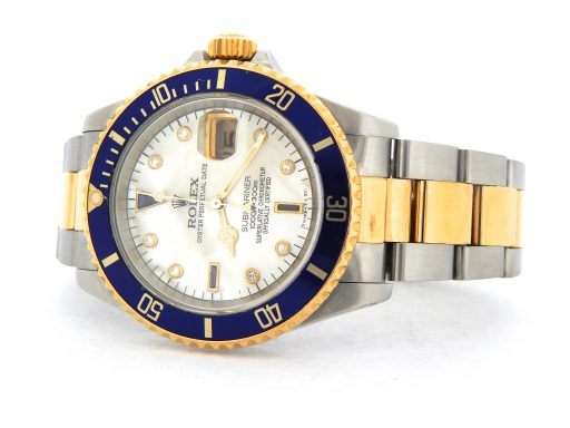 Rolex Two-Tone Submariner 16613 White MOP Diamond-6