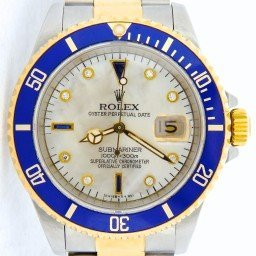 Mens Rolex Two-Tone 18K/SS Submariner White MOP Diamond Blue 16613 (SKU N168159NNMT)