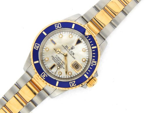 Rolex Two-Tone Submariner 16613 White MOP Diamond-5