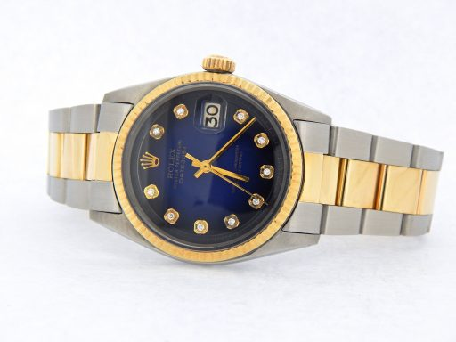 Rolex Two-Tone Datejust 1601 Blue Diamond-6