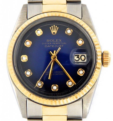 Rolex Two-Tone Datejust 1601 Blue Diamond-1